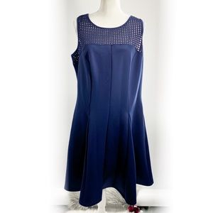 Love Squared Plus Size Fit & Flair Navy Dress 1x
